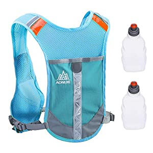 Triwonder Marathoner Race Hydration Vest Hydration Pack Backpack (Blue - with 2 Water Bottles)