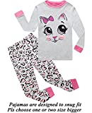 Little Girls Pajamas Cat 100% Cotton Long Sleeve Pjs Toddler Clothes Kids Sleepwear Shirts 3t