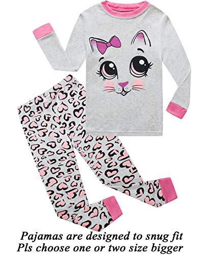 Little Girls Pajamas Cat 100% Cotton Long Sleeve Pjs Toddler Clothes Kids Sleepwear Shirts 3t by Little Cat