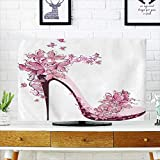 Front Flip Top Shoes on a high Heel Decorated with Butterflies Front Flip Top W20 x H40 INCH/TV 40''-43''