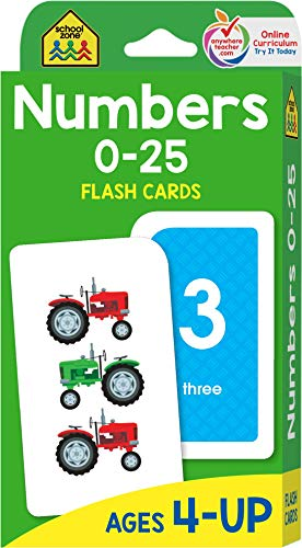 School Zone - Numbers 0-25 Flash Cards - Ages 4 to 6, Preschool and Up, Math Equations, Problem Solving, and More