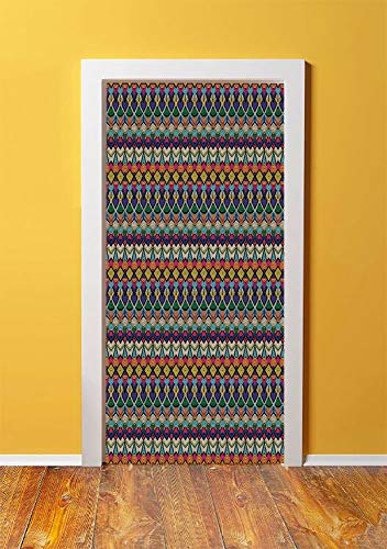 Geometric 3D Door Sticker Wall Decals Mural Wallpaper,Retro Eighties Design Vibrant Color Scheme Geometrical Lines Half Circles Vintage,DIY Art Home Decor Poster Decoration 30.3x78.6217,Multicolor -