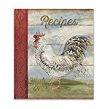 Recipe Binder Set with Plastic Page Protectors and Recipe Cards, Barnyard Rooster