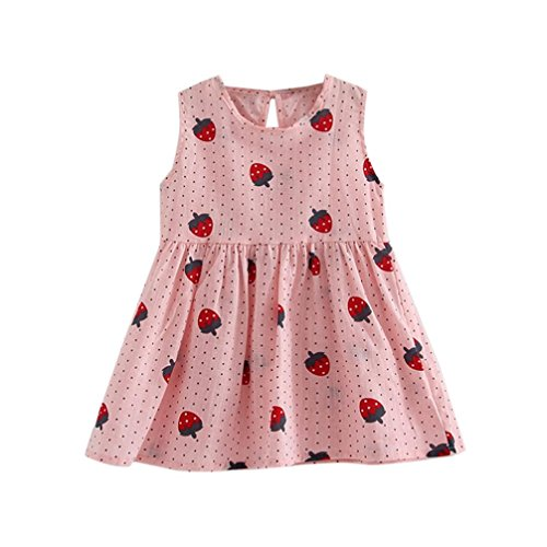 Vovotrade Toddler Girls Princess Dress Party Wedding Sleeveless Printed Strawberry Dresses (2T, Pink) -