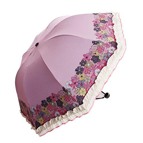 memberr Full-blown Flowers Folding UV Black Rubber Umbrella Sunshade - Th American Sniper