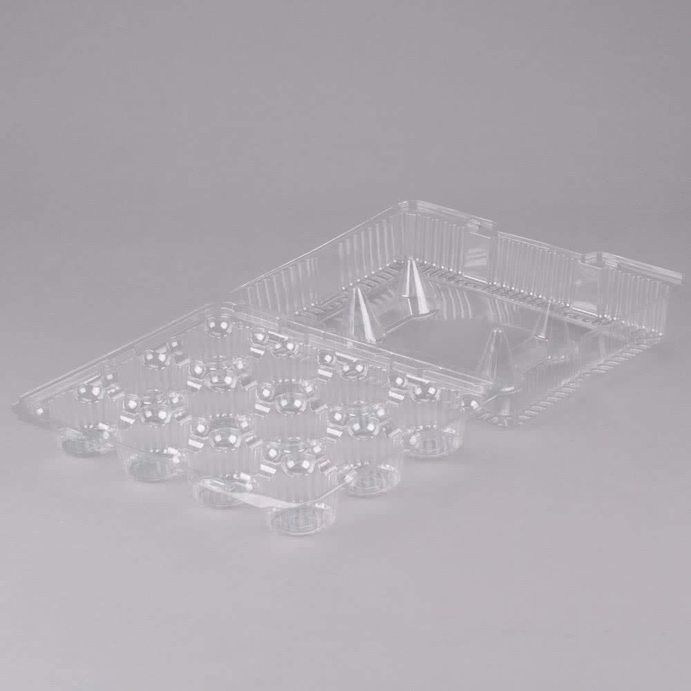 Oasis Supply PJP LBH-9222-12 12-Compartment Cupcake Container with Hinged Lid Clear