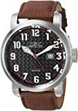 Invicta Men's 'Aviator' Automatic Stainless Steel and Canvas Casual Watch, Color Brown (Model: 23074)