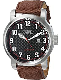 Invicta Men's 'Aviator' Automatic Stainless Steel and Canvas Casual Watch, Color:Brown (Model: 23074)