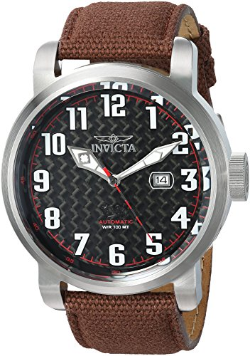 Jewels Automatic Watch - Invicta Men's 'Aviator' Automatic Stainless Steel and Canvas Casual Watch, Color Brown (Model: 23074)