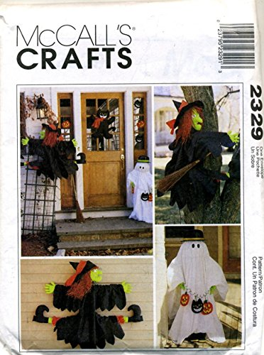 McCall's Crafts, Halloween Decorations, Tree Witch, House Witch, Ghost Greeter, Door Cat and Cat and Pumpkin Ornaments Sewing Pattern # 2329 -