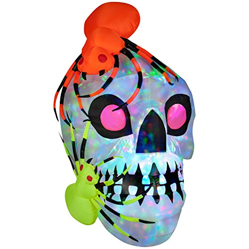 Gemmy Industries Light Show Skull Kaleidoscope Halloween Decoration with Spiders - Multi-colored Spooky and Fun Airblown Inflatables for $<!--$153.25-->