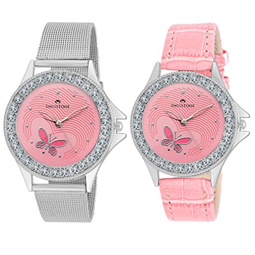 Swisstone VOG501-PNK-CH & VOG501-PINK analog wrist watch combo for Women/Girls