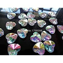 100pcs clear AB colour sew on rhinestones crystal 14mm heart shape stones flatback beads for dress