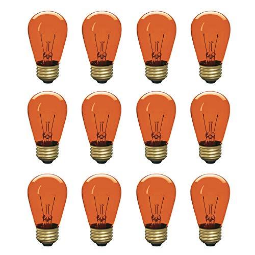 Incandescent S14 Edison Light Bulb, String Light Replacement, E26 Medium Base, 130V, Amber (12 Pack)