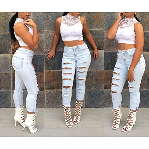 Zhhlaixing Mujeres Ladies Cool Holes Ripped Jeans Cotton Stretch Trouser Pencil Pants Jeans Light Blue