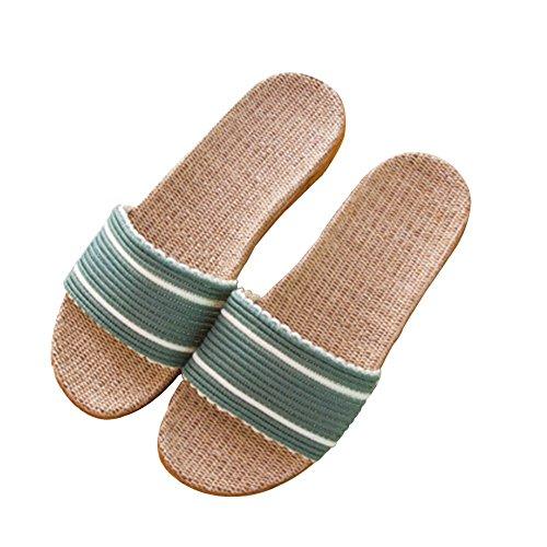 Tellw Kid Uomini E Donne Pantofole Di Lino A Casa Coppie Pantofole Interni Pavimenti In Legno Casa Antiscivolo Spessore Estate Pantofole Fresco Verde