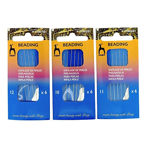 (Bundle of 3 Packs (18 Needles Total) Pony Beading Needles Size 10, 11 & 12 - one Pack of Each)