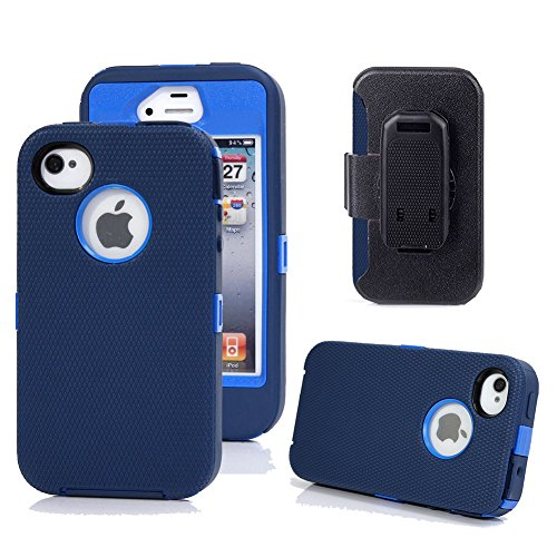 Kecko Heavy Duty 3-Layer High Impact Drop Scratch Resistant Hybrid Builders Military Grade Protection Full Body Case Cover with Belt Clip Built-in Screen Protector for iPhone 4s / 4 (Navy - Case Word 4s Iphone