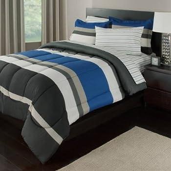 Amazon Com Blue Amp Gray Stripes Teen Boys Queen Comforter