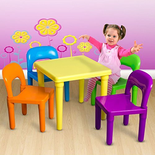 jeab shop Kids Table and Chairs Play Set Toddler Child Toy Activity Furniture in-Outdoor by jeab shop