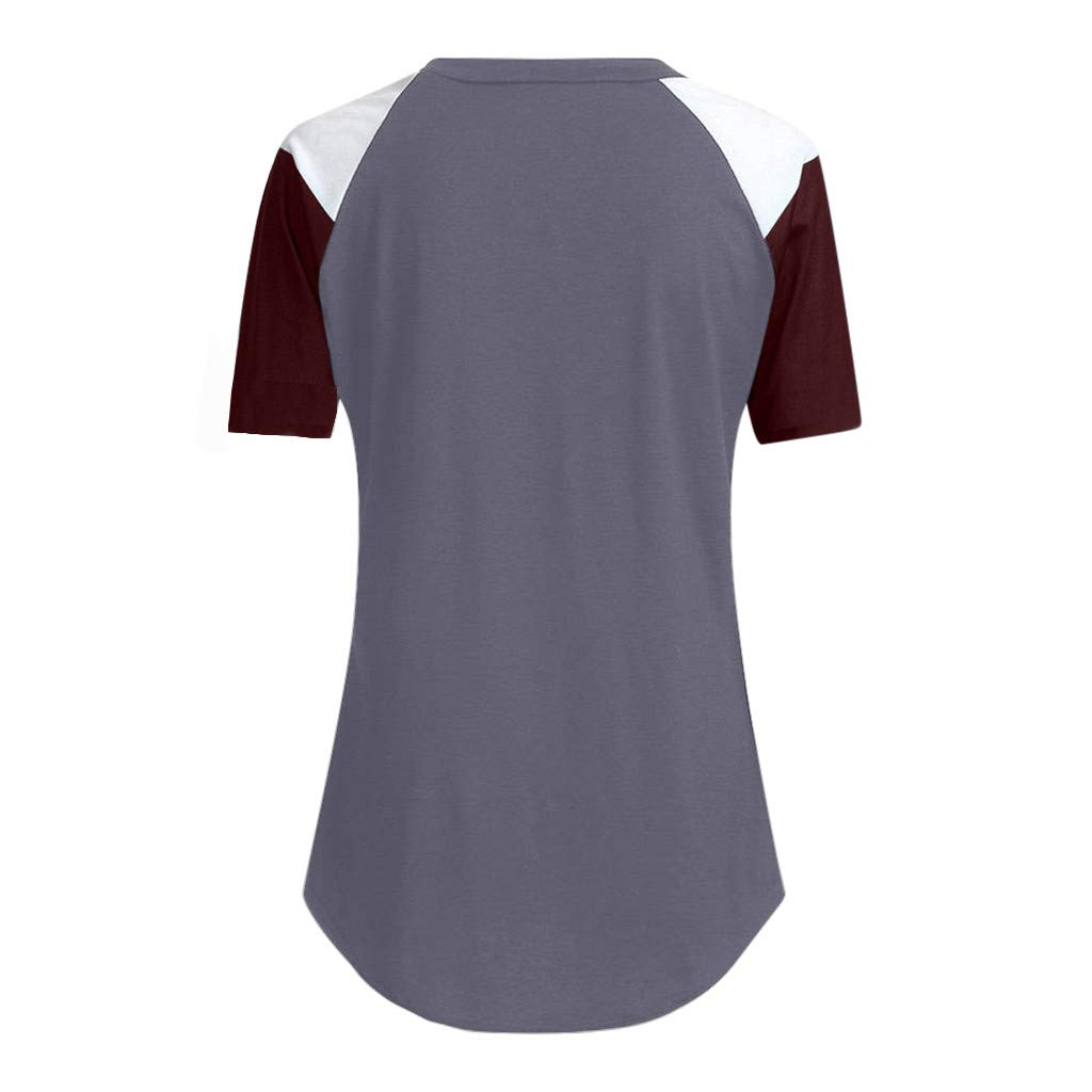 Loyalt Womens Casual Color Block Short Sleeve Tops Loose Lightweight Tunic Blouse