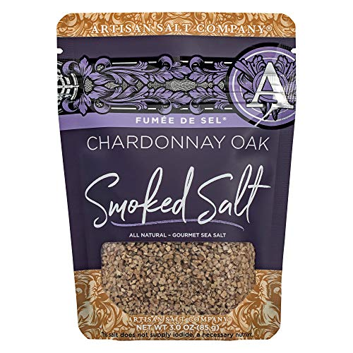 SaltWorks Fumée de Sel, Chardonnay Oak Smoked Sea Salt, Artisan Zip-Top Pouch, 3 Ounce