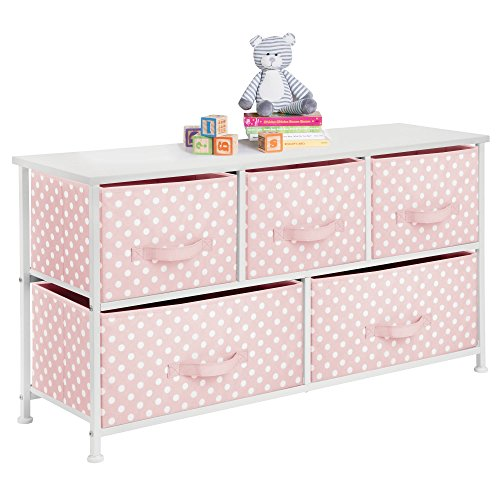 (mDesign 5-Drawer Dresser Storage Unit - Sturdy Steel Frame, Wood Top and Easy Pull Fabric Bins in 2 Sizes - Multi-Bin Organizer for Child/Kids Bedroom or Nursery - Light Pink with White Polka Dots)