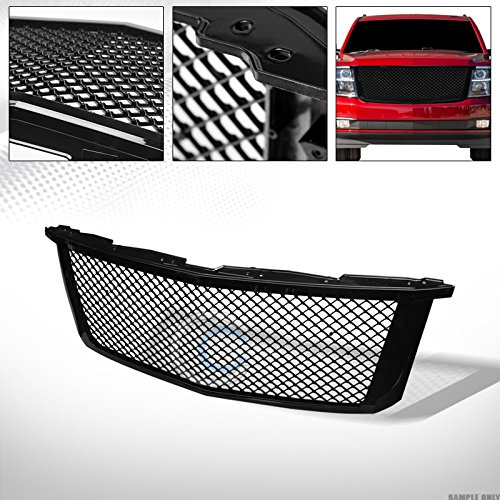 S&T Racing Glossy Black Finished Mesh Front Hood Bumper Grill Grille Cover 2015-2018 for Chevy Tahoe/Suburban