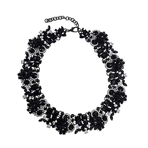 Mozhuo Black Crystal Statement Choker Necklace for Women Grils Charm Collar bib Necklace Fashion Costume Jewelry (Black 2)
