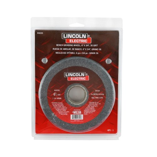 Lincoln Electric KH235 Bench Grinding Wheel, Aluminum Oxide, 4000 rpm, 6'' Diameter, 1-1/4'' Arbor, 36 Grit (Pack of 3) by Lincoln Electric