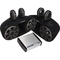Kicker Bundle of 2 Items 41KMT674 6-¾ KM Series Wakeboard Tower Speaker System with 40KXM400.2 2-Channel KXM Series Marine Amplifier
