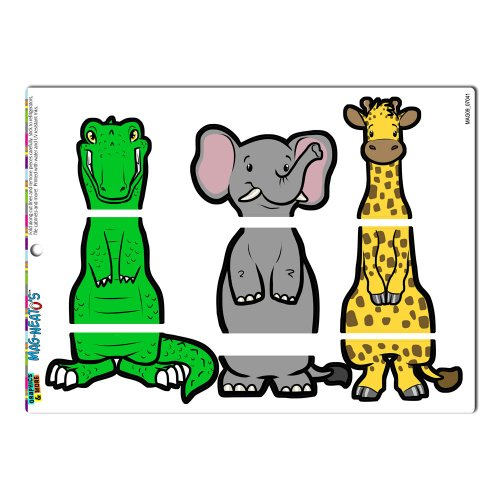 - Graphics and More 'Safari Interchangeable Animals Swap' Giraffe Elephant Alligator Crocodile MAG-NEATO'S Novelty Gift Locker Refrigerator Vinyl Magnet Set