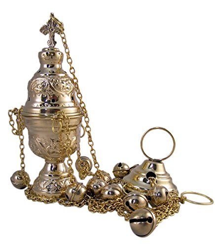 High Polished Brass Hanging Incense Burner with Bells, 8 Inch