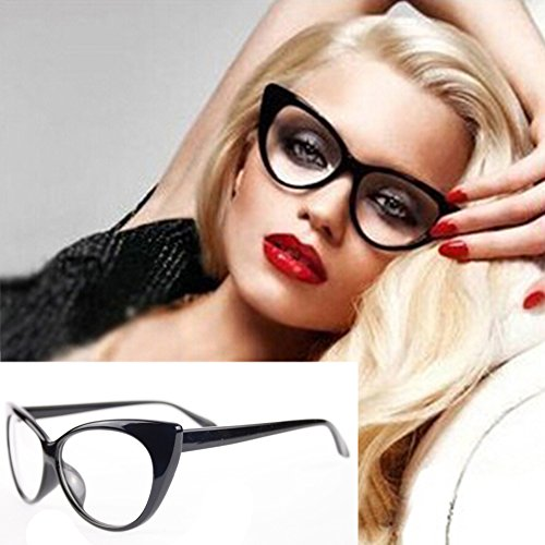 Yamalans Women Classic Sexy Vintage Cat-Eye Shape Plastic Plain Eye Glasses Frame - Shape Cat Eye