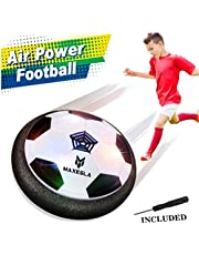 Maxesla 29110 Air Soccer Disk Gifts Pneumatic Suspended Floating Football for Indoor Outdoor Kids Children with Soft Foam Bumpers and Colorful LED Lights Toys for Boys, Black and White