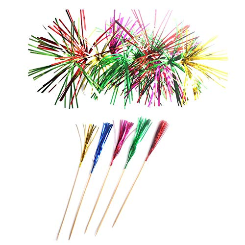 Yugust Metallic Foil Fireworks Cocktail Party Sticks 100pcs Cake Toppers Wedding Glitter Drink Decorative Party Tableware Signs Fruit Picks Mixed Color Birthday Disposable For Catering Decoration]()