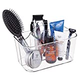 mDesign Men's Bathroom Shower Caddy Tote for Cologne, Shampoo, Soap, Razors - Clear