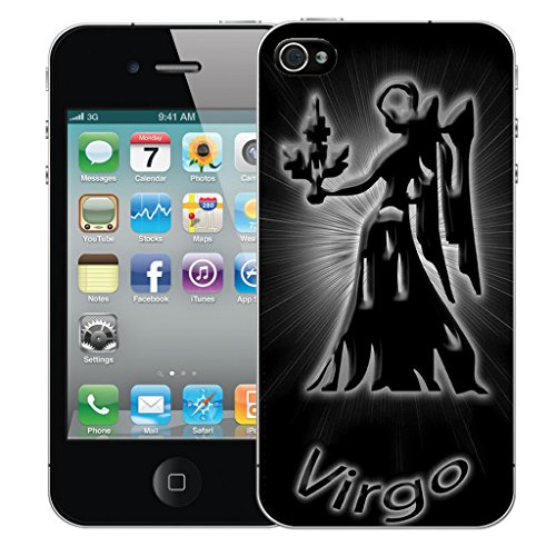 Mobile Case Mate iPhone 4 Silicone Coque couverture case cover Pare-chocs + STYLET - Black Virgo pattern (SILICON)