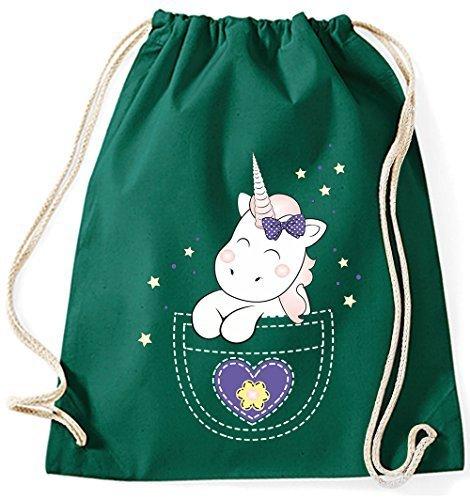 Bolsa de yute Bolsa De Gimnasio Bolsas De Deporte Bolsa de tela Bolsa de algodón con cordel Gymsack Kangarooh Bolsa de cuerno Unicornio Unicornio cutie Bolsillo - lila, morado Green