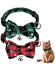 Dokpav 2 Pack Cat Collar, Red and Green Christmas Snowflake Plaid Cat Collars Breakaway with Bow Tie and Bells, Adjustable Bow Tie for Cat Collar, Soft Comfortable Dog Cat Collar with Bowtie for Pets
