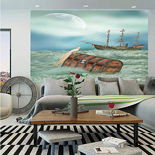 SoSung Fantasy Huge Photo Wall Mural,Antique Old Trunk in Ocean Waves with Magic Bird Pirate Boat Picture,Self-Adhesive Large Wallpaper for Home Decor 100x144 inches,Mint Green Light - Photo Framed Mint