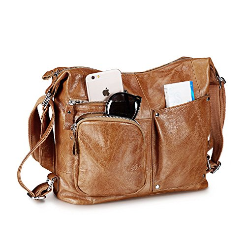 Lecxci Womens Large Multi-purpose Leather Sling Shoulder Purse Crossbody Travel Bag Hiking Day Backpacks (Brown)