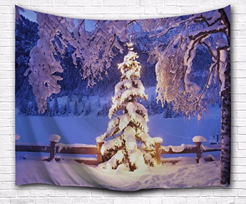 A.Monamour Winter Holiday Season Outdoor Scenery White Snow Hoarfrost
