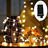 HConce LED String Lights, Plug in String Lights, 100 LED Warm White Globe Lights Waterproof, Decorative Lights for Indoor and Outdoor Use with 29V Low Voltage Transformer