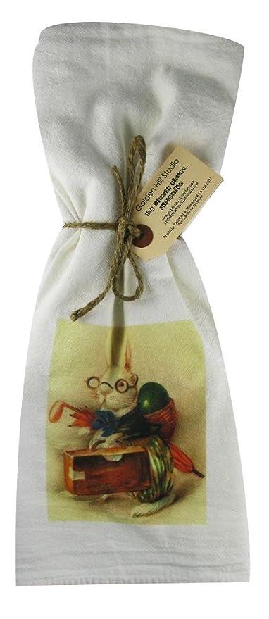 Golden Hill Studio conejo con cesta mochila harina saco toalla (Juego de 3)