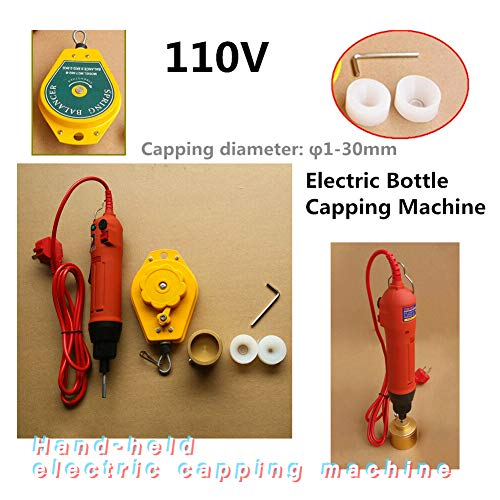 Capping Machine TBVECHI 110V Handheld Electric Bottle Capping Machine Screw Capper Sealing Machine Red