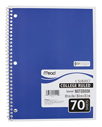Mead Notebook Spiral, 10-1/2 x 7-1/2, Black by Mead (Image #1)