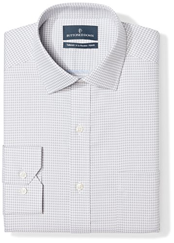 BUTTONED DOWN Men's Tailored Fit Spread-Collar Pattern Non-Iron Dress Shirt, Grey Houndstooth, 16.5