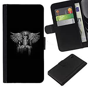Be-Star la tarjeta de Crédito Slots PU Funda de cuero Monedero caso cubierta de piel Sony Xperia Z4v / Sony Xperia Z4 / E6508 ( Black Wings King Throne White Angel )