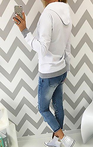 Fashion Felpe Con Donna Felpa Lunga Giubbotto Autunnale Con Moda Bianco Hoodie Colori Elegante Con Invernale Felpa Vintage Giacca Misti Casual Cappuccio Manica Tasca Sportiva Zip rf6xrERq